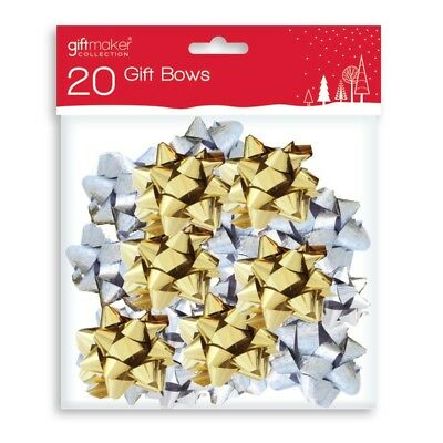 20 Pack Metallic Gold & Silver Self Adhesive Bows Present Gift Wrapping Christma