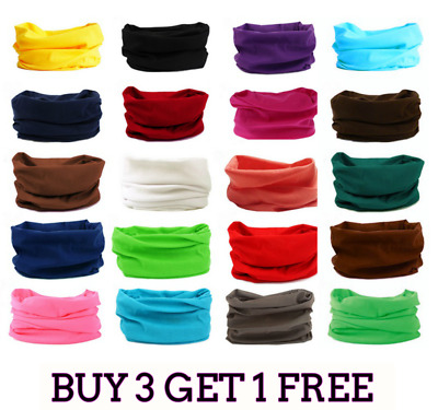 Full Function Face Warmer Mask Neck Tube Scarf Biker Bandana Plain Solid Colour