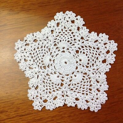"Handcrochet 6"" 15cm white or ivory/cream vintage lace doilie doily doiley round"