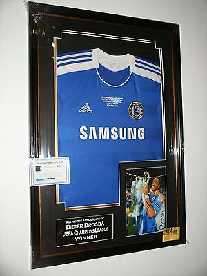 *** Rare Didier Drogba of Chelsea Signed Photo and SHIRT Display ***
