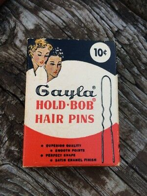 Vintage Gayla Hold-Bob Silver Invisible Hair Pins 1956 ~ Full Box