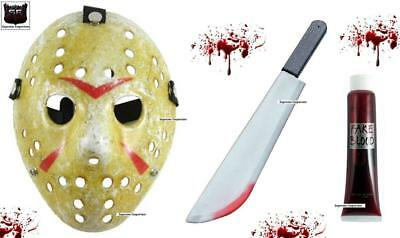 Jason Voorhees Fancy Dress Costume Mask Machete & Blood Friday 13th Halloween