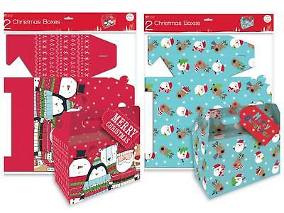 2 Pack Flat Pack Christmas Present Gift Boxes With Tags Xmas