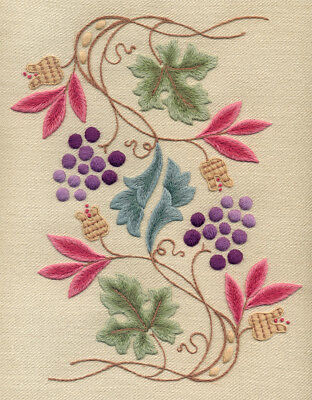 "Crewelwork Embroidery Kit ""GRAPEVINE AND PIPPINS"" By Melbury Hill"