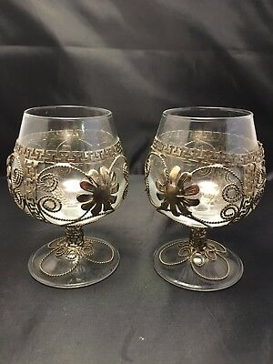 Set of 2 Small Brandy Decorative Gold wire rope  Designed Glasses