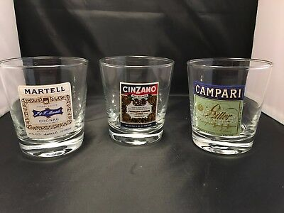 Set of 3 1970's Vintage Retro Campari / Martell / Cinzano glass Tumblers