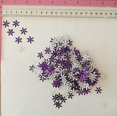 200 x Small Snowflake Punchies - Purple Coloured Foil - Cardmaking Christmas
