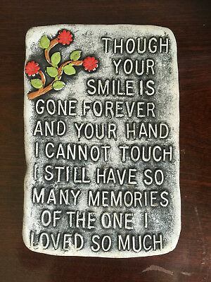 "Fibreglass Case And Mould/ Plaque Mould/ Verse/ ""though Your Smile Is Gone Forev"