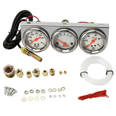 "Universal 2.27"" Water Temp Voltage Volt Oil Pressure Psi Gauge  Set of 3 in 1"