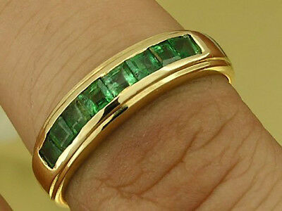 R308 Genuine 9ct, 10K, 18K Real Gold Natural Emerald Square Channel Wedding Ring