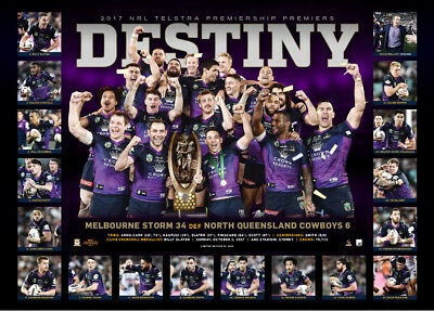 Melbourne Storm 2017 NRL Premiers Deluxe Sportsprint Only - Smith Cronk Slater