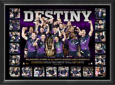 Melbourne Storm 2017 NRL Premiers Deluxe Sportsprint Frame - Smith Cronk Slater