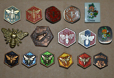 Bee Keeping Club Yugoslavia Honey Bee vintage pin badge lot 15 different pins