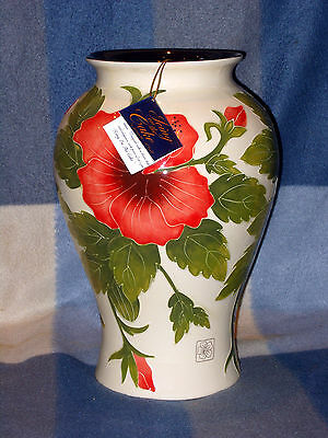 "BNIB JEANETTE McCALL ICING ON THE CAKE LARGE HIBISCUS VASE WITH TAGS 12"" TALL"
