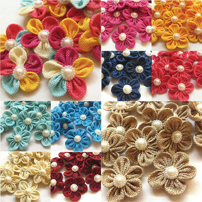 5 Ribbon Flowers Bows Hessian Pearl Applique Wedding Decor Mix Rhinestone #733