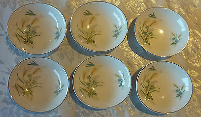 JOHNSON BROS ENGLAND SIX OVAL SWEETS DISHES (FLOWER, GRAIN BIRD MOTIF) C1930's
