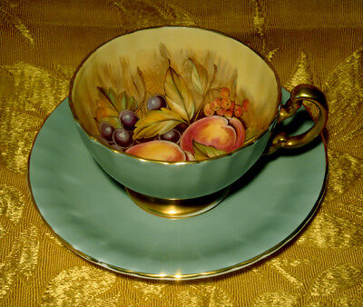 AYNSLEY D. JONES TEA CUP & SAUCER ORCHARD FRUITS in SAGE GREEN GOLD TRIM