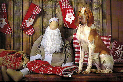 CHRISTMAS SPIRIT WITH STOCKINGS, DOLL, WOLFHOUND Modern Russian postcard