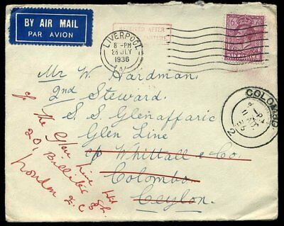 1936 *RECEIVED AFTER/SHIP DEPARTURE* Redirected Ceylon to London