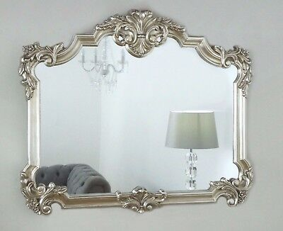 "Versailles Silver Ornate Vintage Wall Mirror 48"" x 40"" X Large"