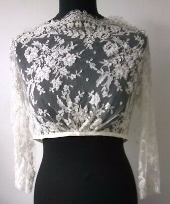 Ivory Lace & Bead Bolero Shrug Top Wedding Prom Party Evening Bridal Formal
