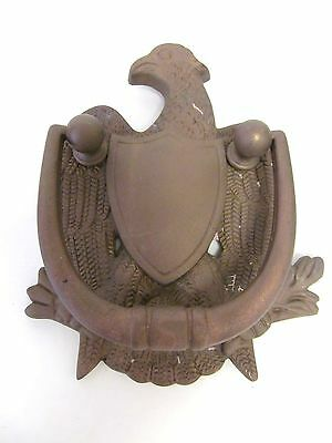 "Vintage Cast Iron Metal American Eagle Decorative Door Knocker Bronze 7""x4.5"""