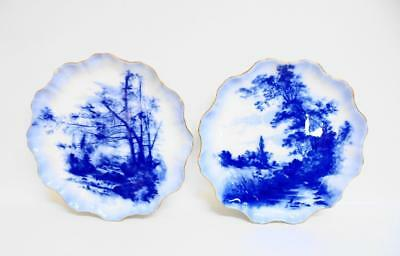 Two RARE Antique DOULTON Blue & White Plates signed by Herbert Betteley 1887