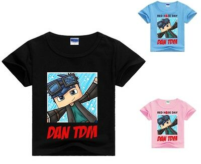 Dan TDM Roblox Kid's T-Shirt Size 3-13 Black Blue and Pink AU Shop