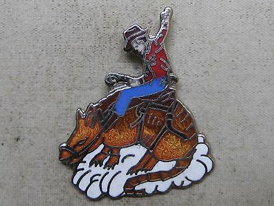 Vintage Enameled Cowboy Riding An Aradillo Lapel Pin ~ Bull Riding Western Rodeo