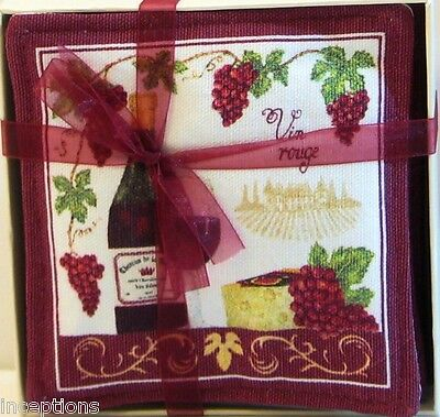 Set/4 Alice's Cottage Cotton Scented Spiced Mug Mats Coasters Vineyard Wine  NEW