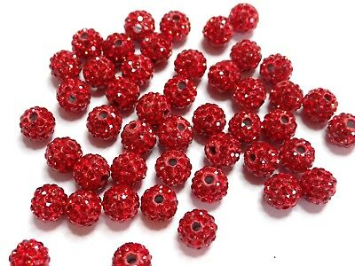 12-LIGHT SIAM - 5 Perle Shamballa 10mm ronde rouge argile Polymere strass