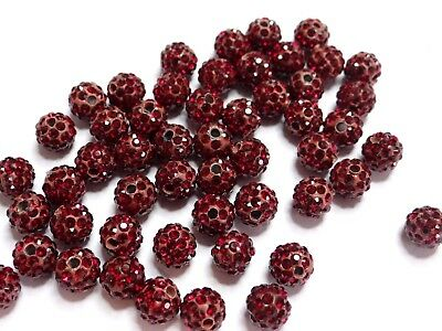 13-SIAM - 5 Perle Shamballa 10mm ronde rouge argile Polymere strass cristaux