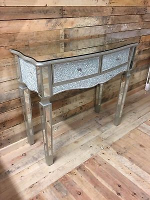 Sparkly Silver Crackle Mosaic Mirrored Glass 2 Drawer Dressing/ Console Table