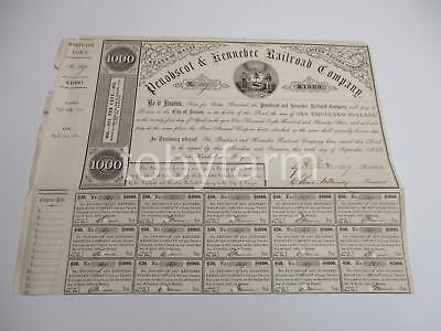 1855 PENOBSCOT & KENNEBEC RAILROAD CO. MORTGAGE BOND $1000 w/15 coupons