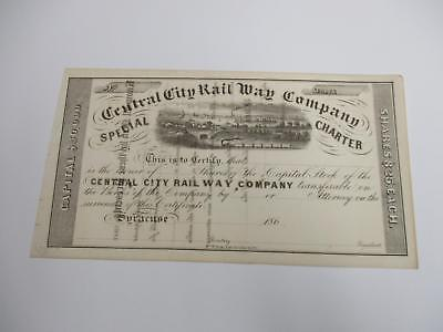 186? CENTRAL CITY RAILWAY COMPANY STOCK CERTIFICATE syracuse ny UNCIRCULATED