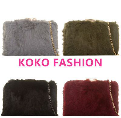 Ladies Soft Fluffy Real Feather Fur Clutch Bag Purse Gold Chain Runway Z2076