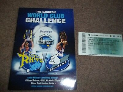 2005 Rugby League World Club Challenge Leeds Rhinos V Canterbury Prog & Ticket