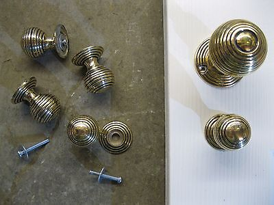 Victorian Reproduction Beehive Brass Cupboard Door Knobs & Roses RECBA