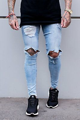 SINNERS ATTIRE   Destroyed Jeans   Light Blue   REDUCED   SALE