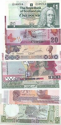 Lot Of 7 Different World Banknotes Uncirculated (D)