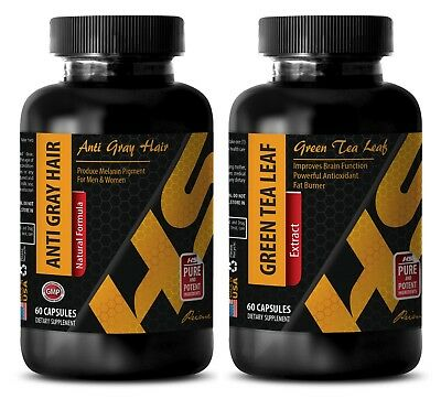 Fat burner energy pills - ANTI GRAY HAIR - GREEN TEA COMBO - zinc metal