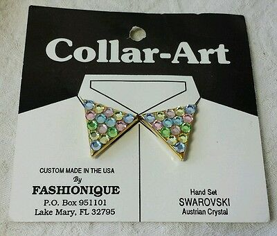 VINTAGE Collar Tips FASHIONIQUE Gold Multi Color SWAROVSKI CRYSTALS New Old Stoc