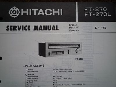 HITACHI FT-270 FT-270L Stereo Tuner Service manual wiring parts workshop diagram