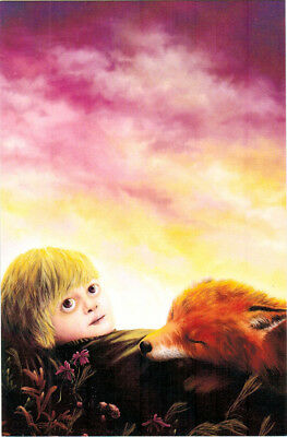 LITTLE PRINCE AND FOX Modern Russian postcard by I.Sovetova