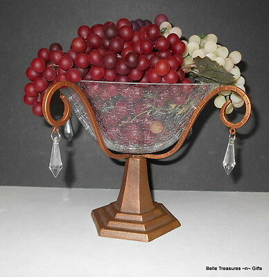 Metal Pedestal & Clear Crackle Glass Fruit Dish with Hanging Jewels