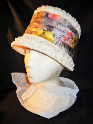 WOMANS VINTAGE TALL BUCKET HAT White Raffia Straw Floral Band Lilac Pink  Yellow d6b13b45489