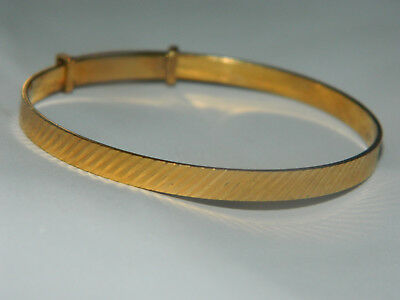 Vintage diamond cut rolled gold bangle 10 years guarantee mark