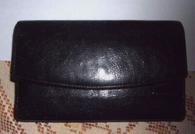 Rolfs Vtg Black Leather Clutch checkbook retro Leather Wallet w kisslock coin