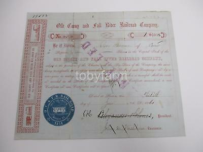 1861 Old Colony & Fall River Railroad Co. Stock Certificate Nice Graphics