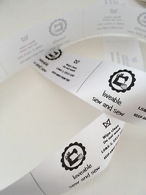 50 Personalised Tags Care Labels craft handmade custom, logo, washing CE Labels